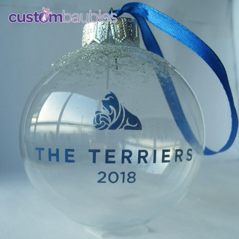 Clear Glass with Blue Print and Ribbon.