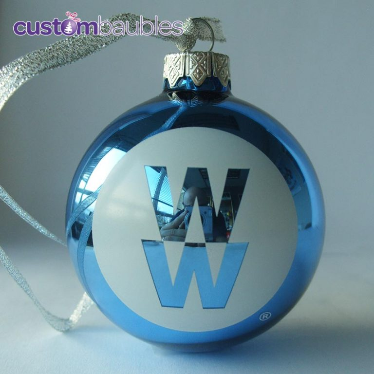 Metallic Blue with White Print and Ribbon.